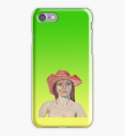 Red hat girl green iPhone Case/Skin