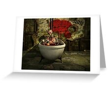 Bath Time For Zombie Greeting Card