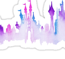 Disney World Magic Kingdom Watercolor Skyline Sticker
