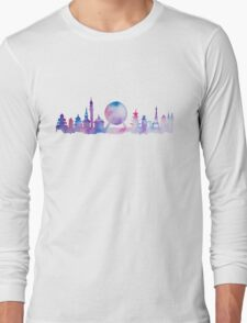 Orlando Future Theme Park Inspired Skyline Silhouette Long Sleeve T-Shirt