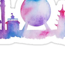 Disney Epcot Skyline Watercolour Sticker