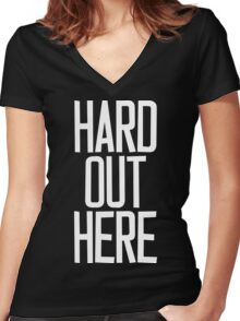 Hard Out Here [For A PIMP] White Ink Women's Fitted V-Neck T-Shirt