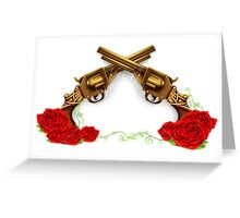 Gun With Roses Greeting Card