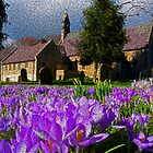 Flowers with church by Robert Gipson