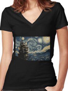 Howl's Stary Night Women's Fitted V-Neck T-Shirt