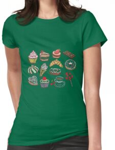 Hand drawn confectionery seamless pattern croissant Cupcake candy marshmallow ice cream cake donut and coffee Womens Fitted T-Shirt