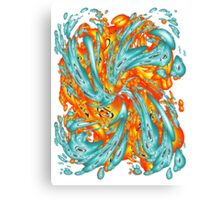 Splash Attack: Aqua and Fire Canvas Print