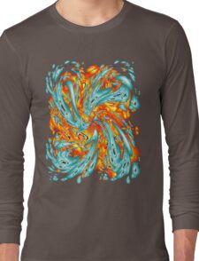 Splash Attack: Aqua and Fire Long Sleeve T-Shirt