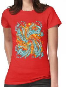 Splash Attack: Aqua and Fire Womens Fitted T-Shirt