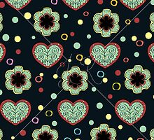 Heart And Flowers Pattern by Kireeva