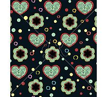 Heart And Flowers Pattern Photographic Print