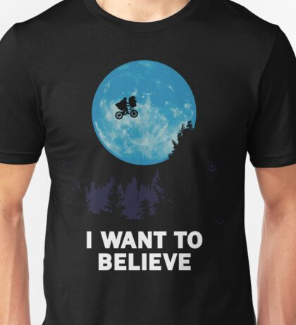 UFO I want to believe E.T. the Extra-Terrestrial Spoof T-Shirt