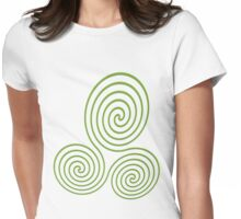 Triple Spiral - Green Womens Fitted T-Shirt
