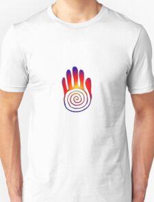 Spiral Healing Hand - Large Red/Orange/Blue T-Shirt