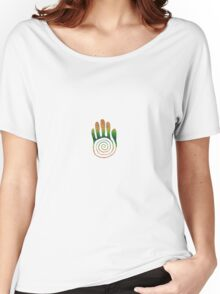 Spiral Healing Hand - Orange/Green Women's Relaxed Fit T-Shirt
