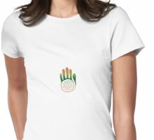 Spiral Healing Hand - Orange/Green Womens Fitted T-Shirt