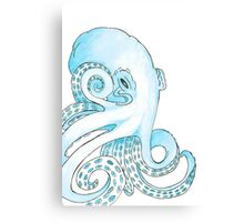Blue Pen and Watercolor Octopus Canvas Print
