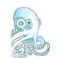 Blue Pen and Watercolor Octopus Photographic Print