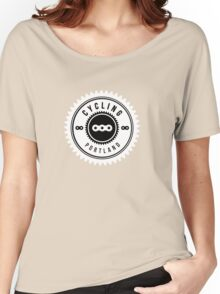 Cycling Portland White & Black Women's Relaxed Fit T-Shirt