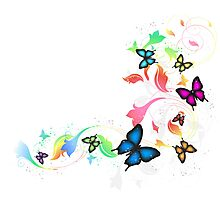 Background With Butterflies Photographic Print