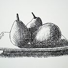 Cross Hatched Pears by Dianne  Ilka