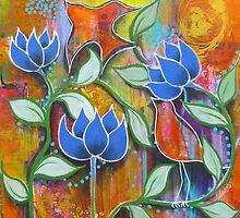 Arabesque - three lotus flowers by Almeta