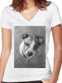 Dog Portrait Commission 1 Women's Fitted V-Neck T-Shirt