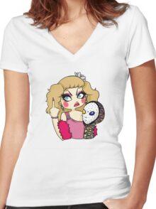 ORNACIA X LIL POUNDCAKE Women's Fitted V-Neck T-Shirt