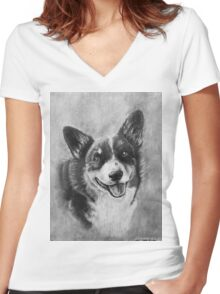 Dog Portrait Commission 2 Women's Fitted V-Neck T-Shirt