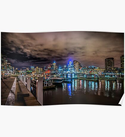 Docklands At Night Poster