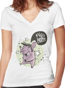 pig's party Women's Fitted V-Neck T-Shirt