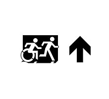 Accessible Means of Egress Icon and Running Man Emergency Exit Sign, Right Hand Up Arrow by Egress Group Pty Ltd