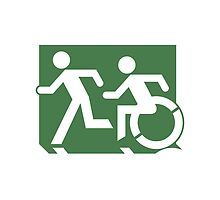Accessible Means of Egress Icon and Running Man Emergency Exit Sign, Left Hand  by LeeWilson