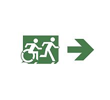 Accessible Means of Egress Icon and Running Man Emergency Exit Sign, Right Hand Arrow by Egress Group Pty Ltd