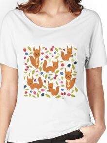 pattern with red squirrel Women's Relaxed Fit T-Shirt