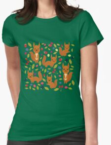 pattern with red squirrel Womens Fitted T-Shirt