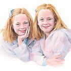 Twin sisters watercolor by Mike Theuer
