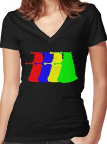 Exterminate The Colour Women's Fitted V-Neck T-Shirt