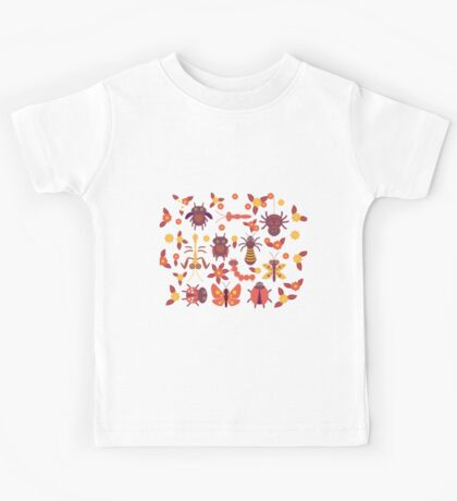 Funny insects Spider butterfly caterpillar dragonfly mantis beetle wasp ladybugs  Kids Tee