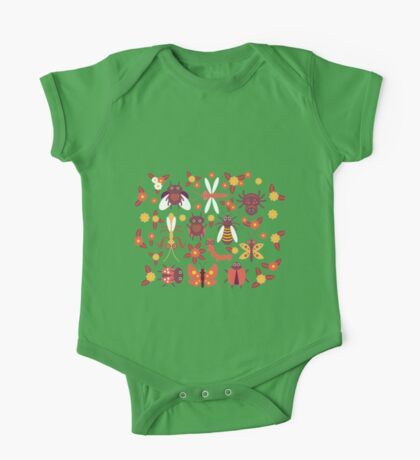 Funny insects Spider butterfly caterpillar dragonfly mantis beetle wasp ladybugs  One Piece - Short Sleeve