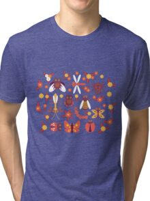 Funny insects Spider butterfly caterpillar dragonfly mantis beetle wasp ladybugs  Tri-blend T-Shirt