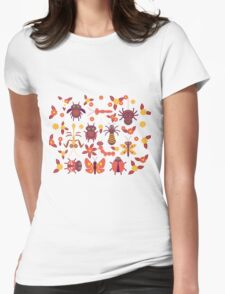 Funny insects Spider butterfly caterpillar dragonfly mantis beetle wasp ladybugs  Womens Fitted T-Shirt