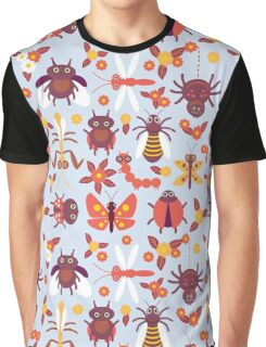 Funny insects Spider butterfly caterpillar dragonfly mantis beetle wasp ladybugs  Graphic T-Shirt