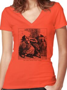 The Girls Biffed Each Other Women's Fitted V-Neck T-Shirt
