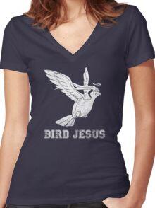 Bird Jesus Shirt Women's Fitted V-Neck T-Shirt