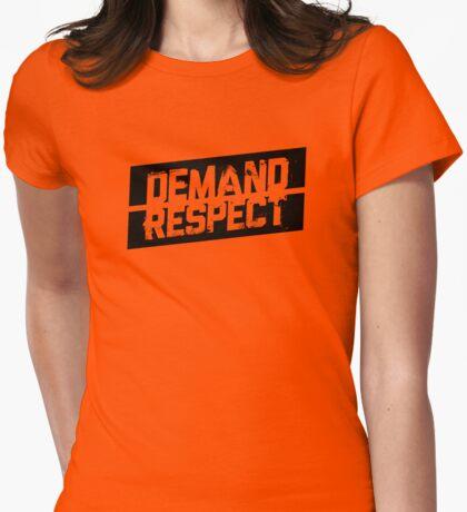Demand Respect - Tilt Black Womens Fitted T-Shirt