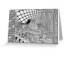 Line drawing, Future city. Greeting Card