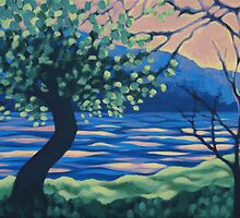 """Sunrise over Wood Lake"" 2008 - acrylic on canvas by Kamila Ogonowski"