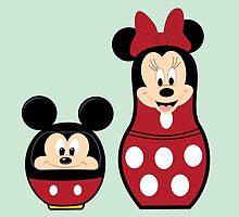 Mickey Daruma & Minnie Matrioshka by demonkourai