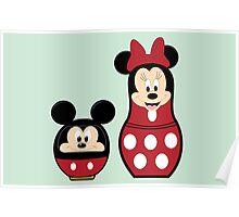 Mickey Daruma & Minnie Matrioshka Poster